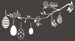 Fensterschablone, Fensterdekoration Ostern, Zweig mit Ostereiern