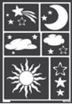 Fensterschablone Sonne, Mond und Sterne