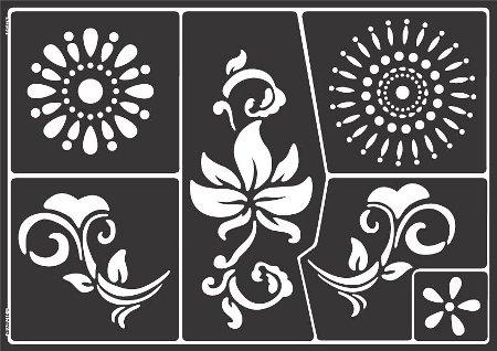 Window Style Set Flowers: Schablone mit Blumen und Ornamenten