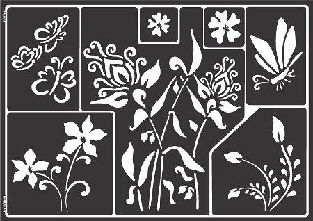 Window Style Set Flowers: Schablone mit Schmetterlingen und Blumen